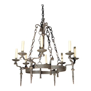 Wrought Iron Torchere Style Chandelier From France, Circa 1950 For Sale