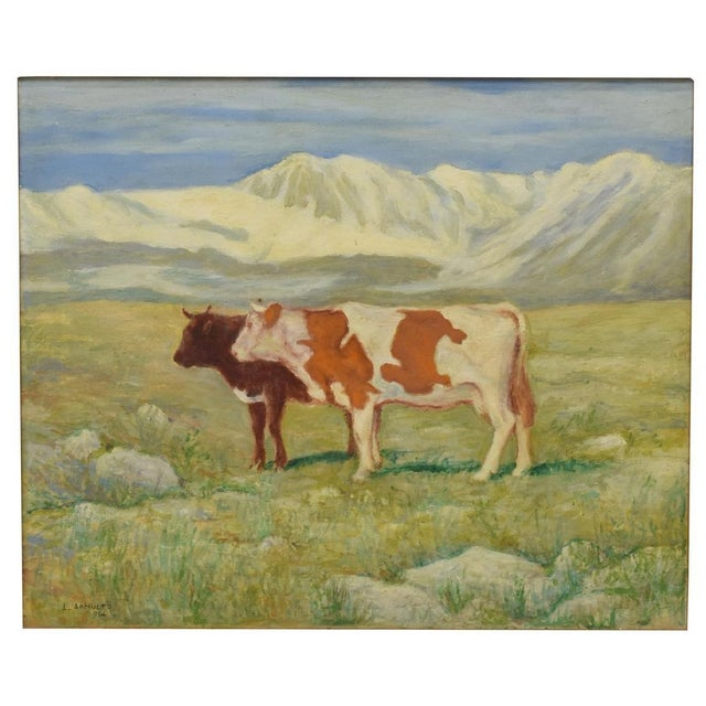 Two Cows in Mountain Landscape Painting, Signed L. Arnulfo For Sale - Image 4 of 5