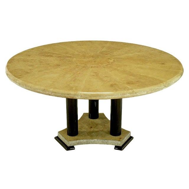 Empire Dining Table with Sunburst Goatskin Top and Chocolate Lacquer Base For Sale - Image 9 of 9