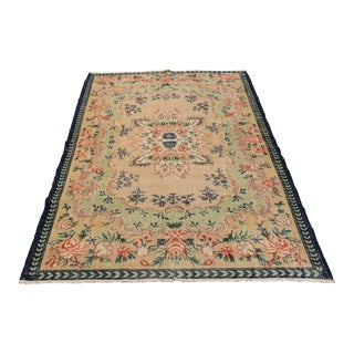 Turkish Oushak Vintage Handwoven Wool Area Rug - 6' x 10' For Sale