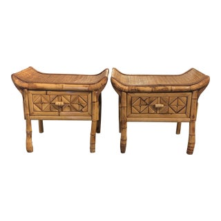 Bamboo and Rattan Pagoda Stools - a Pair For Sale