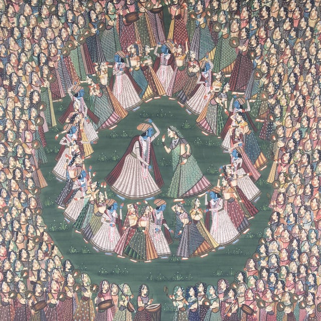 """19th C. East Indian """"Pichwai"""" Painted Textile of Krishna For Sale - Image 4 of 11"""