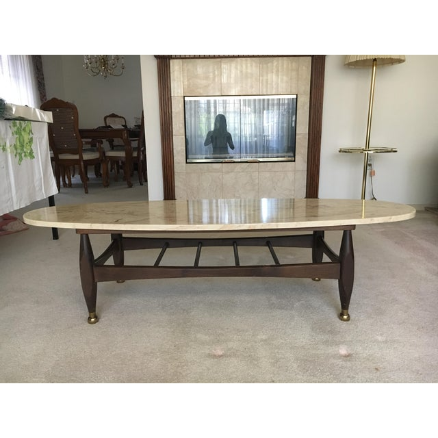 Mid-Century Marble Top Coffee Table - Image 3 of 8