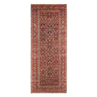 Antique Karabagh Traditional Red Wool Rug With Herati Fish Pattern 5′8″ × 13′5″ For Sale