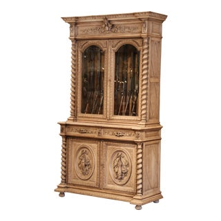 19th Century French Carved Bleached Oak Gun Display Cabinet With Hunt Motifs For Sale