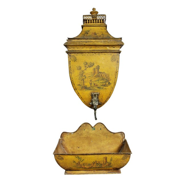 Metal French Empire Yellow Tole Lavabo For Sale - Image 7 of 7