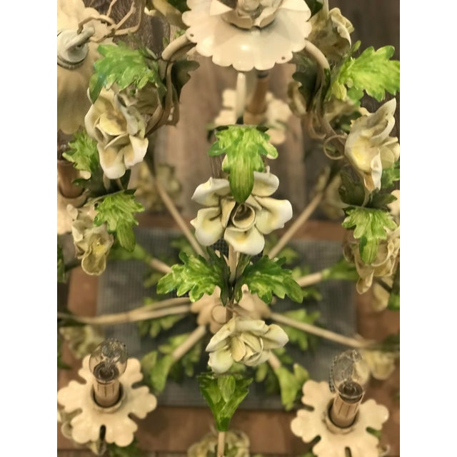 Italian Italian Floral Hand Painted Tole Porcelain Chandelier For Sale - Image 3 of 5