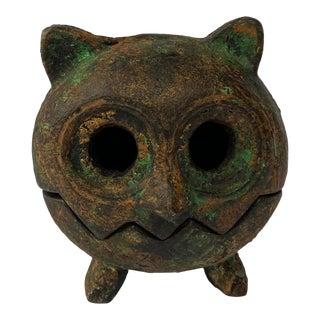 Mid-Century Iron Owl Votive Holder For Sale