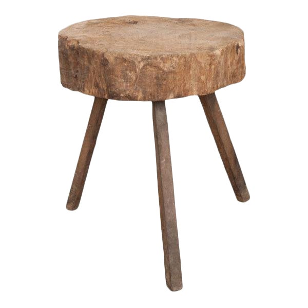 """French 19th Century Provincial """"Tree-Trunk"""" Chopping Block Stool For Sale"""