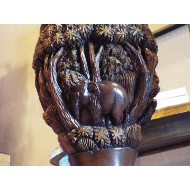 Thai Carved Wood Vases - Pair - Image 4 of 9