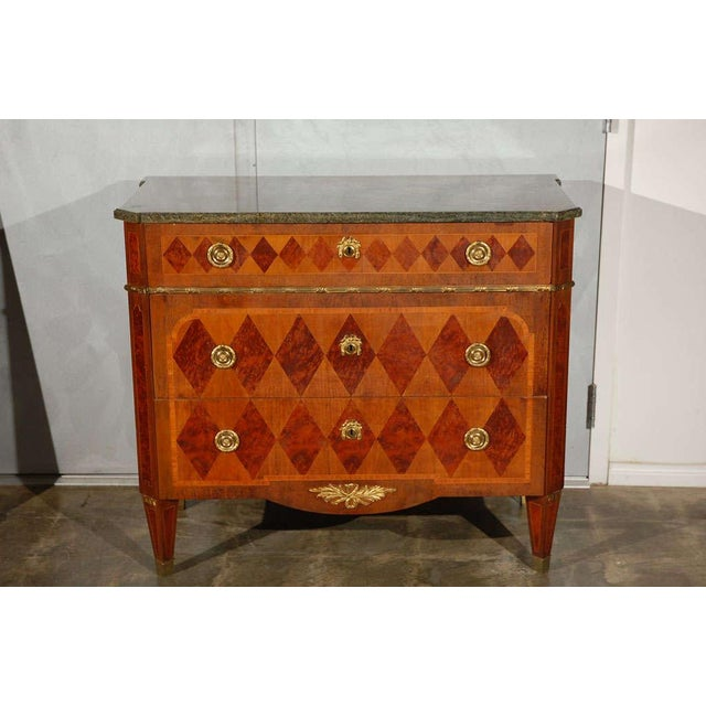 Mid-Century Modern Swedish Marble Top Marquetry Commode For Sale - Image 3 of 5