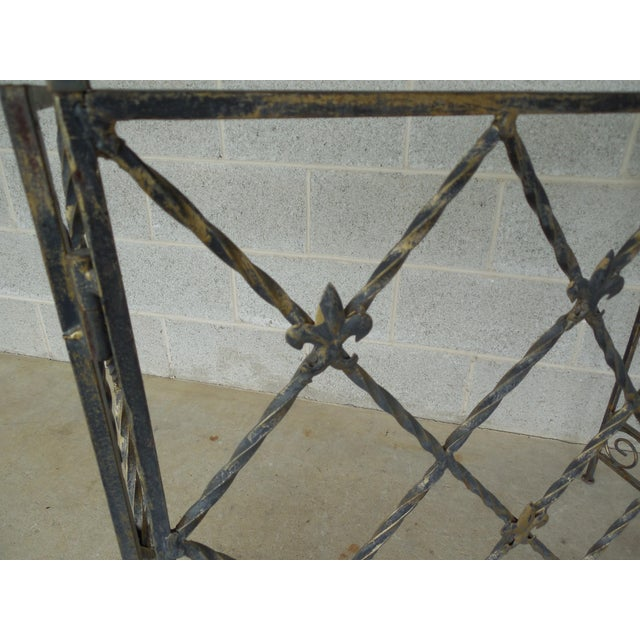"Gold Designer French Style Heavy Wrought Iron Glass Top Console 35""w X 12""d For Sale - Image 8 of 13"