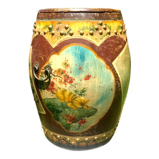 Vintage Hand-Painted Chiniosiere & Floral Scene Storage Drum Accent Table For Sale