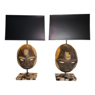 Tribal Mask Lamps and Shades - a Pair For Sale