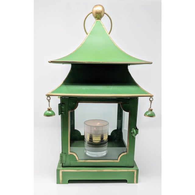 Early 21st Century Asian Antiqued Two-Tier Green Tole Pagoda Lanterns - a Pair For Sale - Image 5 of 12