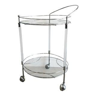 Lucite & Chrome 2-Tiered Bar Cart