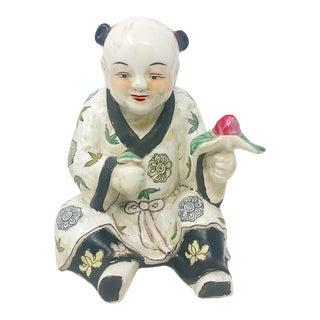 Vintage 1980s Porcelain Chinoiserie Figure Holing Pink Flower For Sale