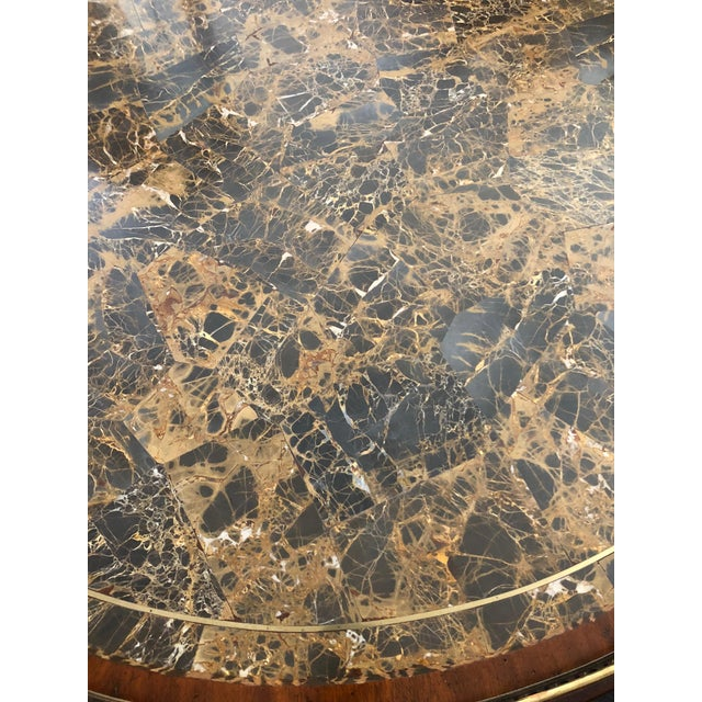 1990s Traditional Maitland Smith Round Faux Stone Center or Side Table For Sale - Image 11 of 13