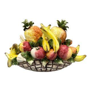 20th Century Italian Fruit and Vegetable Majolica Topiary/ Centerpiece – Banana and Pineapple For Sale