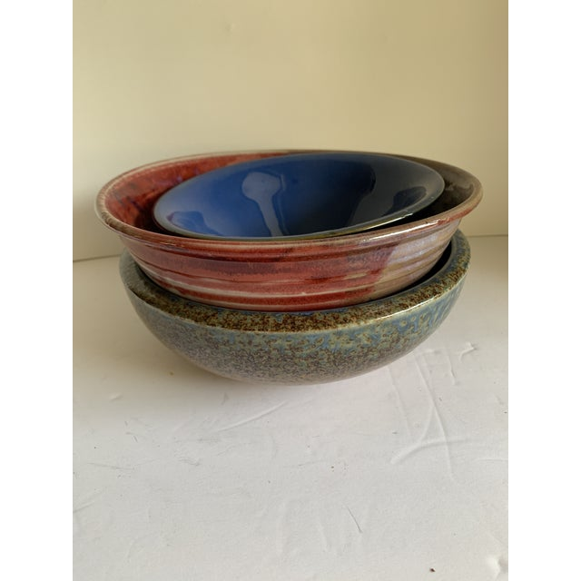 Rustic Farmhouse Style Pottery Bowls, Set of Three For Sale - Image 4 of 13