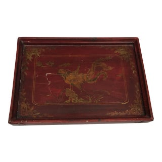 Red Lacquer Chinoiserie Wood Tray For Sale
