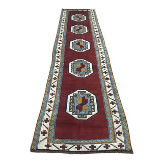 Geometric Design Caucasian Runner Rug For Sale