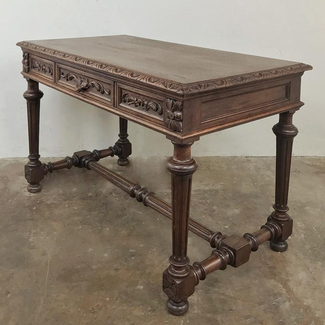 19th Century French Renaissance Writing Table features a refined version of the style, with artful architecture evident in...