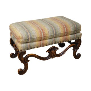 Sherrill Baroque Style Carved Bench Ottoman