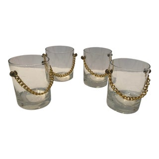 1970s Rocks Glasses with Gold Chain - Set of 4 For Sale