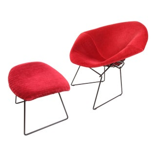 Mid-Century Harry Bertoia for Knoll Diamond Lounge Chair & Ottoman - 2 Pieces For Sale
