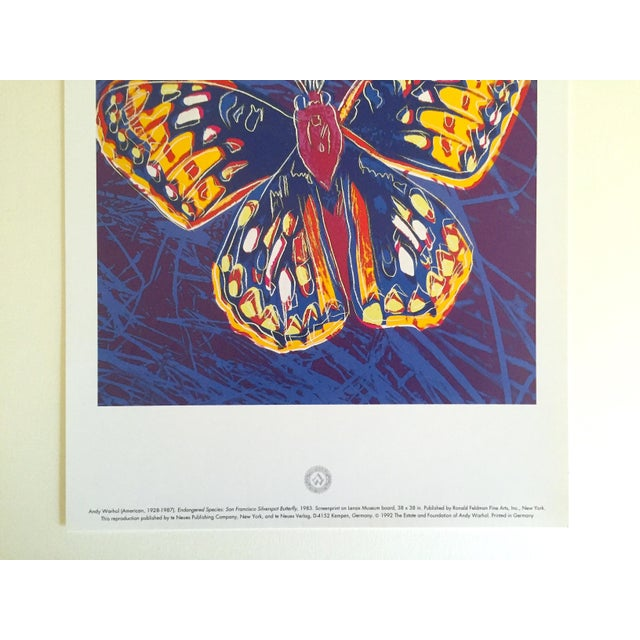 """Contemporary Andy Warhol Estate Rare Vintage 1992 Endangered Species Collector's Lithograph Pop Art Print """" San Francisco Silverspot Butterfly """" 1983 For Sale - Image 3 of 9"""