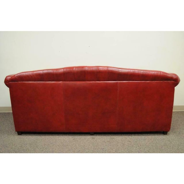Vintage Red Leather English Chesterfield Style Button Tufted Sofa by Jasper For Sale - Image 10 of 11