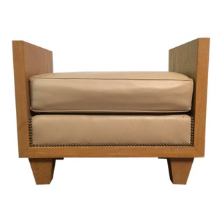 Modern Leather & Brass Nail Head Bench For Sale