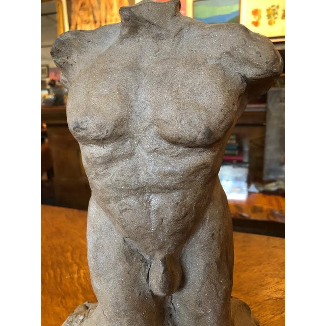 "Hollywood Regency 1960s Vintage Male Nude Sculpture Signed ""Jm Pearson"" For Sale - Image 3 of 8"