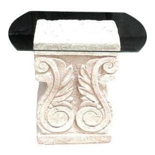 1980s White Rectangular Plaster Column Table For Sale