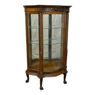 Antique Victorian Oak Claw Foot Serpentine Glass Crystal Cabinet Curio
