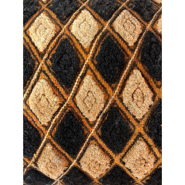 Newly custom made pillow featuring a harlequin-diamond pattern African mud cloth textile in a with taupe, brown and black...
