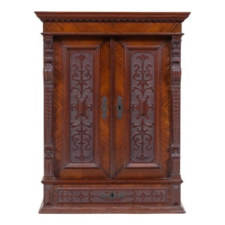 Renaissance Revival Carved Walnut Side/Wall Cabinet For Sale
