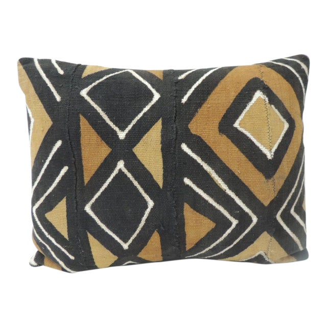 Vintage Graphic African Artisanal Textile Mud Cloth Decorative Bolster Pillow For Sale