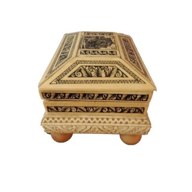 Carved Bone Box w/Ball Feet - Image 3 of 6