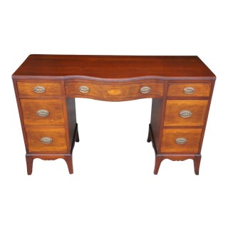 20th Century Traditional Mahogany Fruitwood Inlaid Desk Serpentine Vanity For Sale