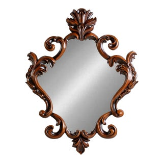 Hand Carved Cherry Wood Style Carved Mirror For Sale