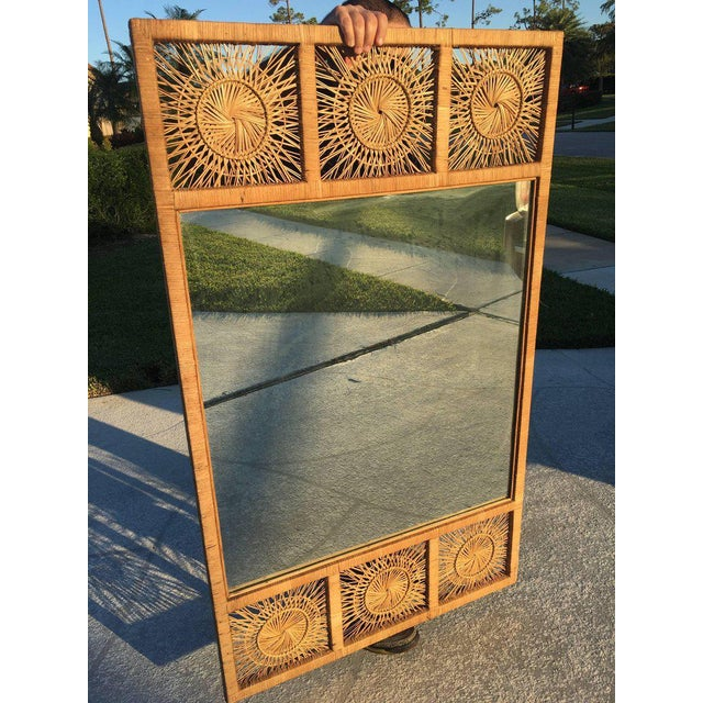 Brown Rattan Boho Tropical Palm Beach Bamboo Oversized Wall Mirror For Sale - Image 8 of 11