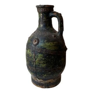 Late 19th Century Tuareg Green And Black Ceramic Vase For Sale