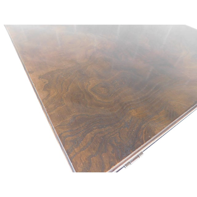 Thomasville Campaign Style Burl Walnut Flip Top Rolling Server For Sale In Philadelphia - Image 6 of 12