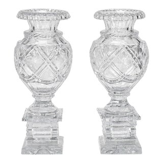Pair of 19th C. Anglo-Irish Cut Crystal Mantle Vases W/ Square Bases For Sale