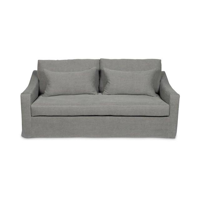 Textile Moss Home Abram Sofa Stonewashed Linen Zinc For Sale - Image 7 of 7