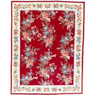 "Pasargad Ny French Aubusson Design Flat Weave Rug - 7′6"" X 9′9″ For Sale"