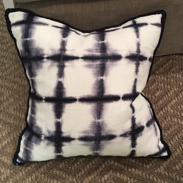 22 x 22 ANKASA Pillow with Navy Silk Rope Trim - includes feather down insert.