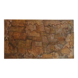 1850's Wood Puzzle Usa Map For Sale